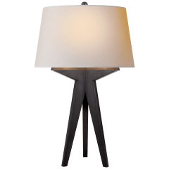 Russell Modern Tripod Table Lamp in Aged Iron with Natural Paper Shade