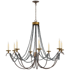 Marigot Large Chandelier in Rust and Old Brass with Tudor Brown Beaded Trim