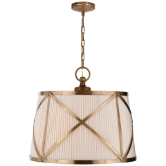 Grosvenor Large Single Hanging Shade in Antique-Burnished Brass with Linen Shade