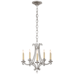 Oslo Mini Chandelier in Burnished Silver Leaf and Crystal