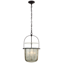 Lorford Small Smoke Bell Lantern in Aged Iron with Antiqued Mercury Glass
