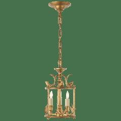 Diego Petite Classical Perching Bird Lantern in Gilded Iron