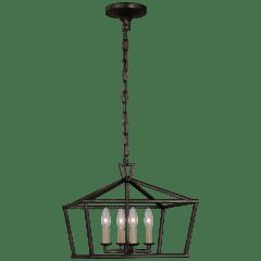 Darlana Small Wide Semi-Flush Mount Lantern in Aged Iron