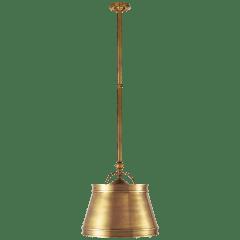 Sloane Single Shop Light in Antique-Burnished Brass with Antique-Burnished Brass Shade