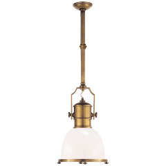 Country Industrial Small Pendant in Antique-Burnished Brass with White Glass Shade