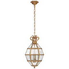 Venezia Small Faceted Scroll-Top Lantern in Gilded Iron with Antique Mirror