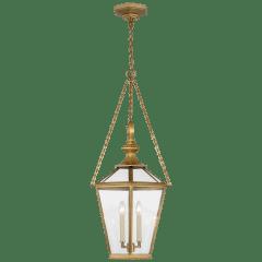 Evaline Medium Lantern in Antique-Burnished Brass with Clear Glass