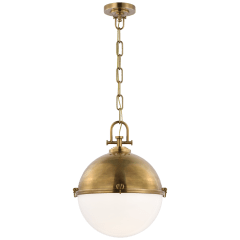 Adrian X-Large Globe Pendant in Antique-Burnished Brass with White Glass