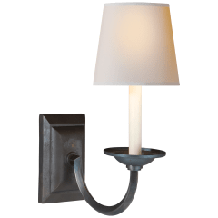Flemish Single Sconce in Aged Iron with Natural Paper Shade