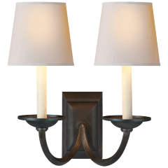 Flemish Double Sconce in Aged Iron with Natural Paper Shades