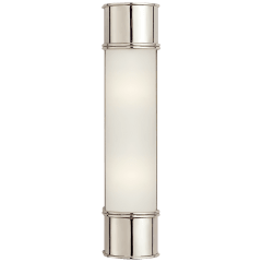 """Oxford 18"""" Bath Sconce in Polished Nickel with Frosted Glass"""
