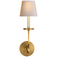 Symmetric Twist Single Sconce in Antique-Burnished Brass with Natural Paper Shade