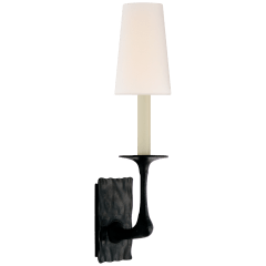 Gabriel Single Sconce in Aged Iron with Linen Shade