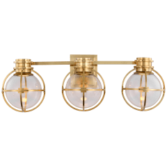 Gracie Triple Sconce in Antique-Burnished Brass with Clear Glass