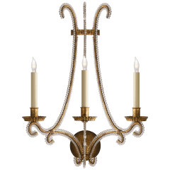 Oslo Large Sconce in Gilded Iron with Clear Glass