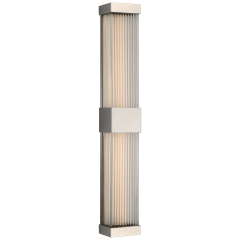 """Vance 24"""" Double Sconce in Polished Nickel with Clear Glass Rods"""
