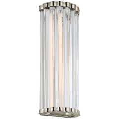 """Kean 14"""" Sconce in Polished Nickel with Clear Glass Rods"""