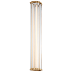 "Kean 28"" Sconce in Antique-Burnished Brass with Clear Glass Rods"