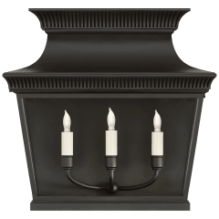 Elsinore Extra Wide 3/4 Lantern in Black with Clear Glass