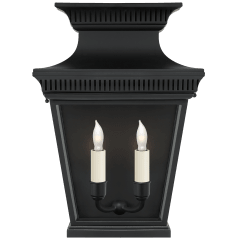 Elsinore Medium 3/4 Wall Lantern in Black with Clear Glass