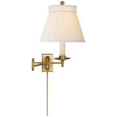 Dorchester Swing Arm in Antique-Burnished Brass with Silk Crown Shade