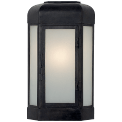 Dublin Small Faceted Sconce in Aged Iron with Frosted Glass