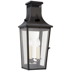 Belaire Small 3/4 Wall Lantern in Blackened Copper with Clear Glass