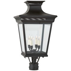 Elsinore Medium Post Lantern in Black with Clear Glass