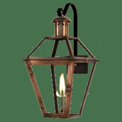 "Georgetown 15"" Farmhouse Hook Wall Lantern in Antique Copper, Gas"