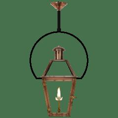 "Georgetown 18"" Yoke Ceiling Lantern in Antique Copper, Gas"