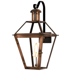 "Georgetown 22"" Farmhouse Hook Wall Lantern in Antique Copper, Gas"