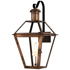 "Georgetown 27"" Farmhouse Hook Wall Lantern in Antique Copper, Gas"