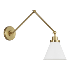 Wellfleet Double Arm Cone Task Sconce Matte White and Burnished Brass