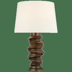Karissa Medium Table Lamp in Antique Bronze Leaf with Linen Shade