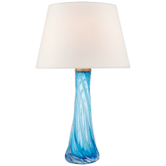 Lourdes Large Table Lamp in Cerulean Blue Glass with Linen Shade