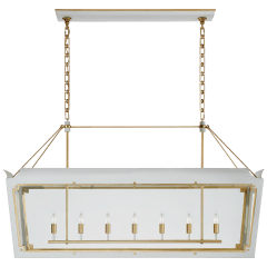 Caddo Large Linear Lantern in Soft White and Gild with Clear Glass