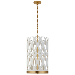 Ingrid Tall Chandelier in Matte White and Gild