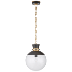 Lucia Medium Pendant in Matte Black and Gild with Clear Glass