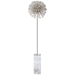 Dickinson Floor Lamp in Polished Nickel and White Marble with Clear Glass and Cream Pearls