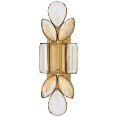Lloyd Large Jeweled Sconce in Soft Brass with Clear Crystal