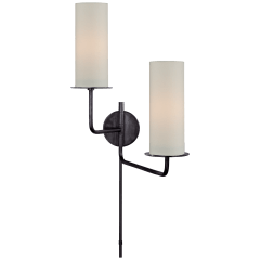 Larabee Double Swing Arm Sconce in Gun Metal with Cream Linen Shades
