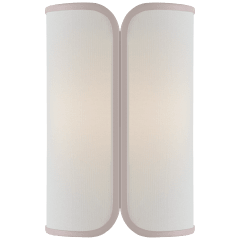 Eyre Medium Sconce in Soft Brass with Linen with Cream Trimmed Shade