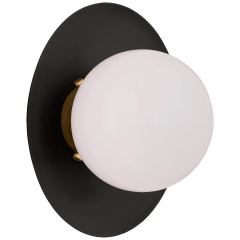Boswell Small Sconce in Matte Black and Gild with White Glass