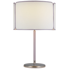 Eyre Medium Table Lamp in Polished Nickel and Lilac Leather with Linen and Lilac Trimmed Shade