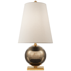 Corbin Mini Accent Lamp in Black Pearl with Cream Linen Shade