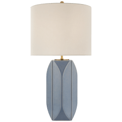 Carmilla Medium Table Lamp in Polar Blue Crackle with Linen Shade