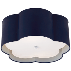 Bryce Medium Flush Mount in French Navy and White with Frosted Acrylic Diffuser