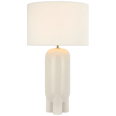 Chalon Large Table Lamp in New White with Linen Shade