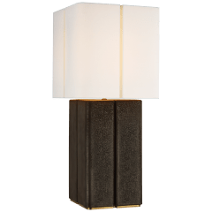 Monelle Medium Table Lamp in Stained Black Metallic with Linen Shade