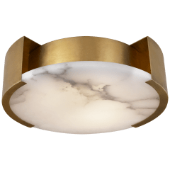 Melange Small Flush Mount in Antique-Burnished Brass with Alabaster